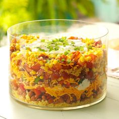 Southern Corn Bread Salad Recipe -To feed a crowd, I make this eye-popping corn bread salad. It's beautiful in a trifle bowl and instant sunshine by the spoonful. —Debbie Johnson, Centertown, Missouri (recipe for trifle families) Southern Cornbread Salad, Cornbread Salad Recipes, Southern Salad, Taste Of Home Cornbread Salad Recipe, Layered Cornbread Salad, Mexican Cornbread Salad, Cornbread Dressing, Cooking For Two, Feeding A Crowd