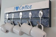 diy pallet coffee mug holder with spoon hooks 21 DIY Coffee Racks To Organize Your Morning Cup of Joe Coffee Mug Storage, Coffee Cup Rack, Coffee Mug Holder, Coffee Cups, Coffee Latte, Coffee Tables, Diy Becher, Spoon Hooks, Pallet Coat Racks