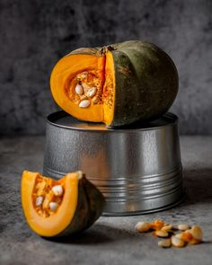 Pumkin over Grey Background - Stock Photo , Object Photography, Fruit Photography, Autumn Photography, Still Life Photography, Still Life 2, Still Life Photos, Alone Life, Watercolor Fruit, Life Paint