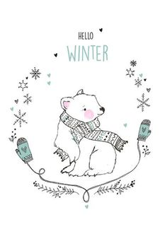 Hello Winter! ( quot;Ansichtkaart Marieke ten Berge - hello winter ijsbeer. quot;)