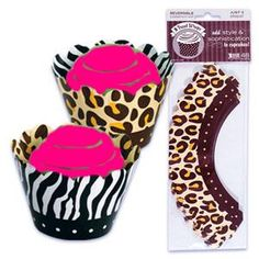 Animal Print Reversible Cupcake Wrappers (Pkg of 48)