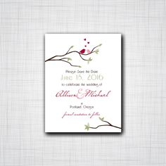 Lovebirds in a Tree Save the Date, DIY Digital Save the Dates, Birds with Hearts in a tree Save the Dates