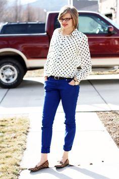 J Crew polka dot popover, cobalt skinny jeans, leopard loafers