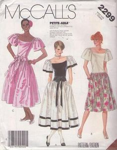MOMSPatterns Vintage Sewing Patterns - McCall's 2299 Vintage 80's Sewing Pattern TOTALLY HOT New Wave Prom Party Dress, Drop Waist, Flared Skirt, Flutter Sleeves Size 12 Mccalls Sewing Patterns, Vintage Sewing Patterns, Clothing Patterns, One Piece Dress, Prom Party Dresses, Couture, Drop Waist, Flare Skirt, Vintage Outfits