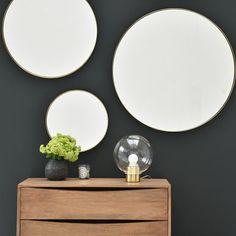 Miroir rond en laiton diamètre 80 cm