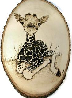 Giraffe Art Giraffe Woodburning Pyrography by PurpleCowArt