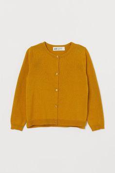 Fine-knit cotton cardigan - Dark yellow - Kids | H&M GB 2 Cotton Cardigan, Knit Cardigan, Knit Dress, Dress Outfits, Girl Outfits, Bear Coat, Jodhpur, Overall Dress, Fashion Company