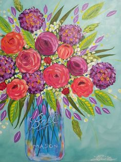 "Mason Vase- 18"" x24"" original acrylic painting on canvas by Lisa Pirillo"
