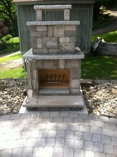 Necessories Bluestone Compact Outdoor Fireplace 4200038 at The Home Depot - Mobile Outdoor Stone Fireplaces, Diy Outdoor Fireplace, Backyard Fireplace, Backyard Patio, Backyard Pavilion, Fireplace Ideas, Outdoor Landscaping, Fire Pit Furniture, Teak Furniture