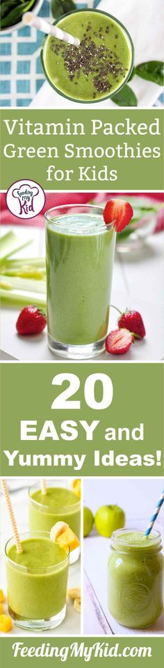 Smoothies for Kids: A Yummy, Vitamin Packed Drink Your Kids. Vitamin Packed Green Smoothies for Kids. 20 Easy and Yummy Ideas!Vitamin Packed Green Smoothies for Kids. 20 Easy and Yummy Ideas! Smoothie Recipes For Kids, Smoothies For Kids, Healthy Green Smoothies, Fruit Smoothies, Healthy Drinks, Healthy Snacks, Detox Drinks, Fruit Juice, Simple Smoothies
