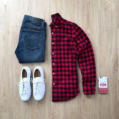 Outfit Ideas For Men: Hot Mens Fashion Style Outfits Ideas to Impress Your Girl - Style 17 Stylish Men, Men Casual, Red And Black Shirt, Red Black, Look Man, Casual Outfits, Fashion Outfits, Men's Outfits, Outfit Grid