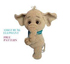 Cute Elephant, Free Crochet, Free Pattern, Crochet Patterns, Teddy Bear, Animals, Amigurumi, Animales, Animaux