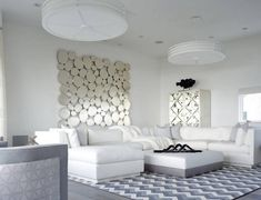 Modern all white living room decor with extra large white U sectional sofa and geo All White, Large White, Living Room White, Living Room Decor, Geometric Rug, Upholstered Sofa, Space Furniture, Sectional Sofa, Your Space