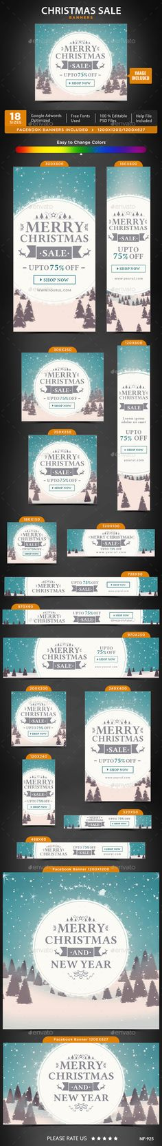 Buy Christmas Sale Banners by Hyov on GraphicRiver. Promote your Products and services with this great looking Banner Set. Banner Template, Christmas Design, Christmas Sale, Scandinavian Kids Rooms, Home Buying Process, Display Ads, Web Design Trends, Facebook Timeline Covers, Sale Banner