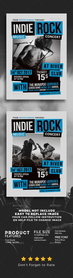 Indie Rock Music Concert Flyer — Photoshop PSD #art #flyer • Available here → https://graphicriver.net/item/indie-rock-music-concert-flyer/20740797?ref=pxcr