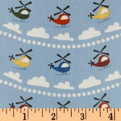 Riley Blake Scoot Helicopter Laminated Cotton Blue  This would be so fun for a rain jacket for Benji!