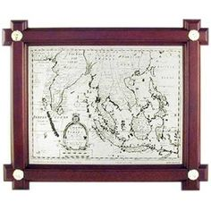 Map Plaque - Circa 1700 A.D.-  A wooden border frames this classical piece from the past. #pewter #RoyalSelangor
