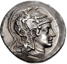 Tetradrachm from Herakleia ad Latmon, Ionia, C. 140-135 BC  Stephanophoric type. Head of Athena Parthenos right, wearing crested Attic helmet decorated with Pegasos above the foreparts of five galloping horses / Herakles' club; HPAKΛEΩTΩN above; below, Nike walking left, holding wreath in right hand, flanked by two monograms; all within oak wreath.   With the collapse of Seleukid authority in Asia Minor in 189 BC, many communities of northwestern Asia Minor celebrated their liberation from…