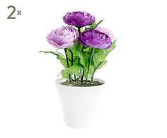 Set de 2 plantas artificiales con maceta de cerámica