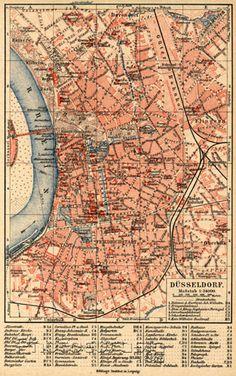 Düsseldorf, city map, About 1900