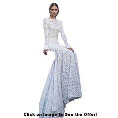 Etosell Women's Mermaid Lace Formal Wedding Bridal Dress White S