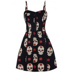 Rockabilly Style Clothing for Women Skull Fashion, Dark Fashion, Moda Pinup, Skull Dress, Estilo Pin Up, Tattoo Clothing, Day Of The Dead Skull, Skulls And Roses, Rockabilly Fashion