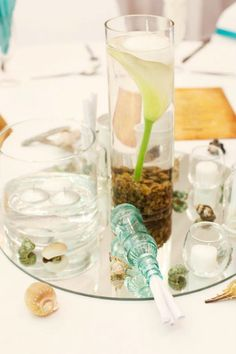 Message in a bottle favour, Round Mirror base Tall Glass Vases, Floating Flowers, Message In A Bottle, Round Mirrors, Decorative Items, Stones, Base, Table Decorations, Rocks