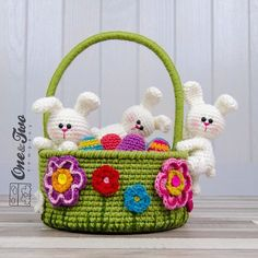 Little Bunnies Easter Basket PDF Crochet Pattern Instant One and two company- Carolina Guzman - Little Bunnies Easter Basket Elegant and Chic CROCHET BAG Pattern Image Ideas for new 2019 Part crochet bag pattern free; Bunny Crochet, Easter Crochet Patterns, Hat Crochet, Free Crochet, Easter Egg Basket, Easter Eggs, Crochet Chicken, Christmas Baskets, Christmas Ornaments