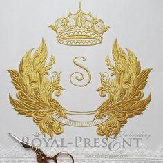 Machine Embroidery Design Golden baroque frame
