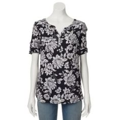 Croft & Barrow Dobby Plaid Roll-Tab Shirt - Women's