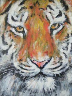 Tiger Original Acrylic Painting Art OOAK Art Animal Big Cat