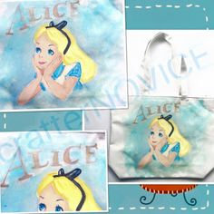 crafterNOVICE: hand-painted Alice on tote bag