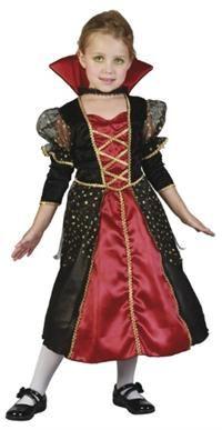 Vampirella Kostümü, 3-4 Yaş Parti Kostümleri - Kız Çocuk Parti Kostümleri Cadılar Bayramı Kostümü / Halloween Partisi Kostümü: Kostümlü Parti, Kıyafet Balosu, Okul Gösterileri ve Partileri için ideal kostüm. Üstü kadife sırma dekorlu, kolları ve eteği altın yaldızlı siyah tül dekorlu polyester kumaştan elbise /Elbise altına giyilen eteği kabarık göstermek için tarlatan iç etek/ ayrıca dantelli bant ile takılan yüksek yaka.