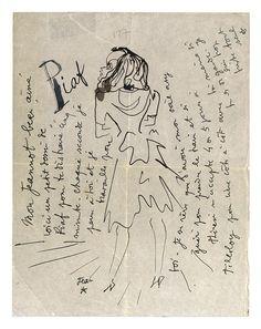 * Lettre de Cocteau à Jean Marais pendant la mobilisation de ce dernier, entre août 1939 et juin 1940 illustrée d'un dessins représentant Édith Piaf.