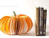 Large Book Page Pumpkin - Upcycled from Old Books