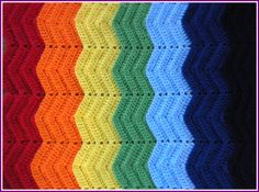 Handmade Crochet Red, Orange, Yellow, Lime Green, Baby Blue, Navy Blue and Purple Rainbow Baby Blanket