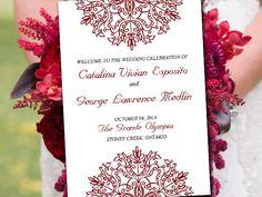 "Fold Over Wedding Program Template Download ""Kaleidoscope"" Wine Red Program Order of Service | Half Fold Program - DIY Wedding Snowflake by PaintTheDayDesigns on Etsy"