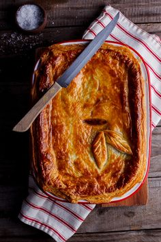 Rich, meaty steak and mushroom stew topped with golden, flaky pastry. This steak and mushroom pot pie is the personification of comfort food. Steak And Mushroom Pie, Steak And Mushrooms, Stuffed Mushrooms, Mushroom Stew, Lunch Recipes, Fall Recipes, Beef Recipes, Great Recipes, Cooking Recipes