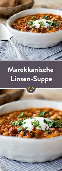 Moroccan Chickpea Lentil Soup- Marokkanische Kichererbsen-Linsen-Suppe In this spicy soup, chickpeas and lentils are refined with fresh coriander and cumin, which gives them a typical Moroccan touch. Veggie Recipes, Soup Recipes, Vegetarian Recipes, Healthy Recipes, Lentil Recipes, Dinner Recipes, Spicy Soup, Healthy Weeknight Dinners, Lentil Soup
