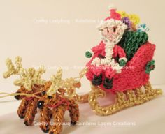 By Crafty Ladybug - Rainbow Loom Creations. I made a SLEIGH! It is so complicated, but awesome looking. Rainbow Loom Christmas, Rainbow Loom Charms, Loom Love, Fun Loom, Rainbow Loom Patterns, Rainbow Loom Creations, Rainbow Loom Bands, Rainbow Loom Bracelets, Loom Bands Designs