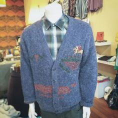 Ranch dressing: vintage knit with horse embroidery patch, paired with vintage check western short sleeve shirt. Vintage Clothing, Vintage Outfits, Men's Vintage, Embroidery Patches, Ranch Dressing, Vintage Knitting, Check Shirt, Horse Riding, Knit Cardigan