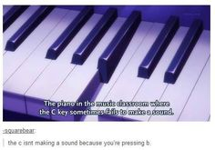 Isn't for marching band, but still.  Even so, there is that one key that doesn't work on each piano at school. Meh.