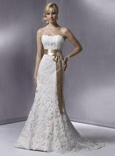 Slim A-line Strapless Satin Lace Beading Wedding Dress with Waist Belt