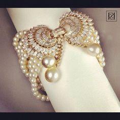Pearl bracelet by Farah Khan.