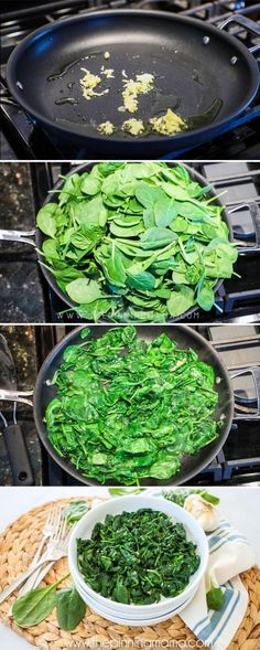 Step by step instructions on making sauteed garlic spinach. Step by step instructions on makin Sauteed Spinach Garlic, Cooked Spinach Recipes, Healthy Vegetable Recipes, Sauteed Vegetables, Garlic Recipes, Vegetable Dishes, Veggies, Healthy Side Dishes, Side Dish Recipes