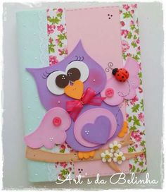 Cuaderno lechuza Owl Crafts, Preschool Crafts, Diy And Crafts, Crafts For Kids, Paper Crafts, Merian, Felt Owls, Rose Tutorial, Decorate Notebook