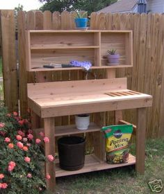 Threeman Products Ultimate Cedar Potting Bench Color: Stained, Size: 64 H x 72 W x 24 D Outdoor Potting Bench, Potting Bench Plans, Potting Tables, Potting Sheds, Garden Bench Plans, Outdoor Pallet, Outdoor Decor, Potting Station, Pallets Garden