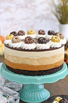 Pumpkin Chocolate Mousse Cake: chocolate cake and 3 layers of mousse with flavors like cinnamon pumpkin-butterscotch and caramel! Thanksgiving Desserts, Fall Desserts, Delicious Desserts, Moose Dessert, Pumpkin Dessert, Chocolate Mousse Cake, Chocolate Recipes, Caramel Mousse, Pumpkin Cake Recipes