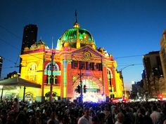 Flinder's Street Station on Melbourne's first White Night