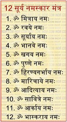 Surya Namaskar Mantra with Steps